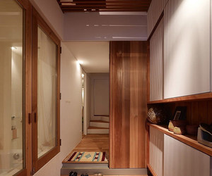 natural lighting, small space, and wooden material image