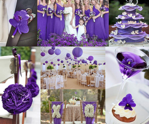 decorations, purple, and wedding theme image