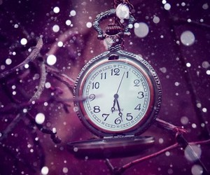 time, clock, and snow image