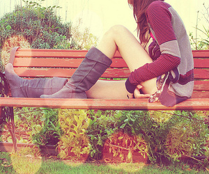girl, boots, and bench image