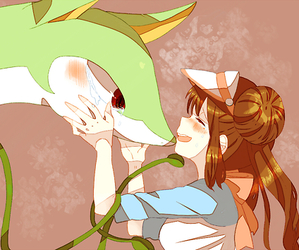 anime, serperior, and couple image