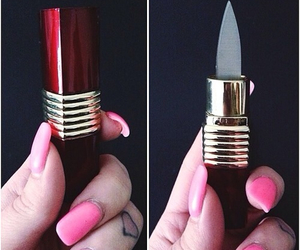 knife, lipstick, and nails image