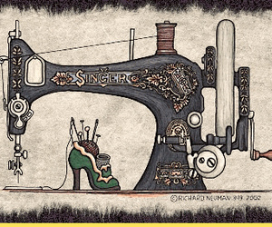 illustration, sewing, and sewing machine image