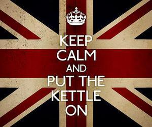 keep calm, tea, and flag image