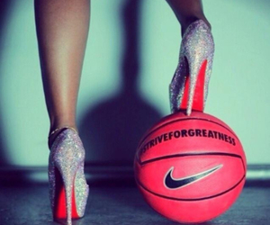 Basketball, basket, and heels image