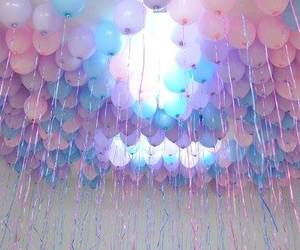balloons, pink, and blue image