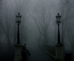 dark, fog, and black and white image