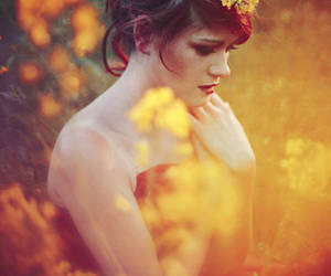 flowers, hair, and face image