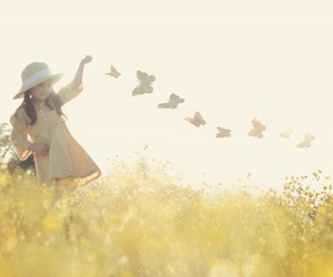 butterflies, fashion, and little girl image