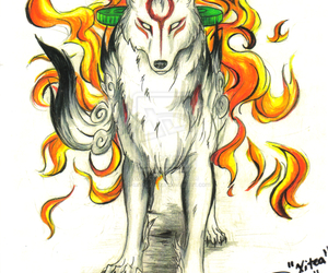 anime, fire, and okami image
