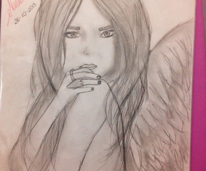 angel, draw, and drawing image
