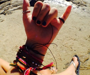 beach, black, and hippie image
