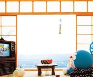 doraemon, relax, and sea image