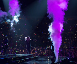 demi lovato, pink hair, and neon light tour image
