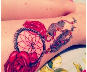 tattoo, dreamcatcher, and rose image