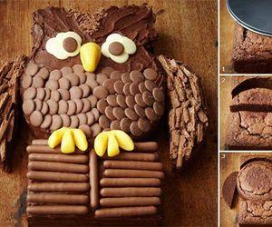 chocolate, owl, and cake image