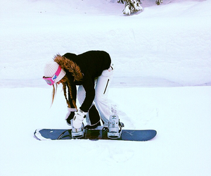 girl, snow, and snowboard image