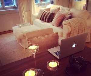 apple, candles, and couch image