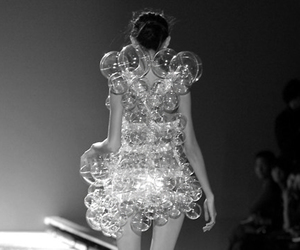black and white, bubbles, and fashion image