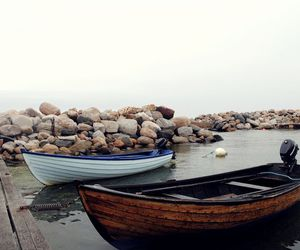 boats, foggy, and jetty image