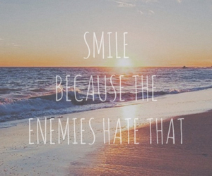 beach, smile, and sunset image