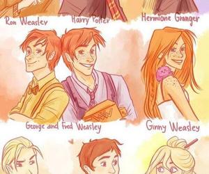harry potter, luna lovegood, and ron weasley image