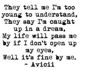 avicii, quotes, and song image