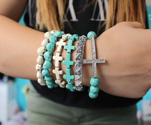 beads, cross, and blue image