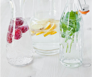 water, drink, and fruit image