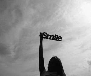 smile, sky, and black and white image