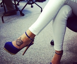 shoes, tattoo, and blue image