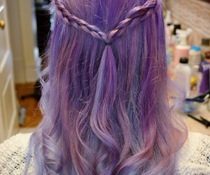 hair, hairstyle, and purple hair image