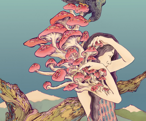 mushroom, art, and psychedelic image