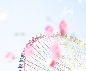 ferris wheel, pink, and sky image