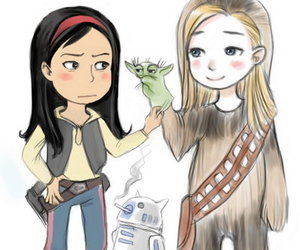 cute couple, devian art, and star wars image