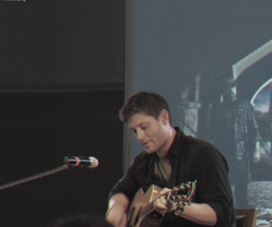 dean winchester, guitar, and misha collins image