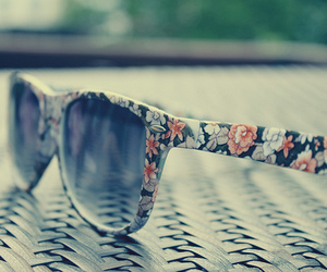 sunglasses, flowers, and glasses image