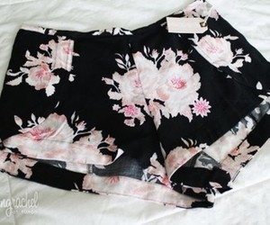 shorts, floral, and flowers image