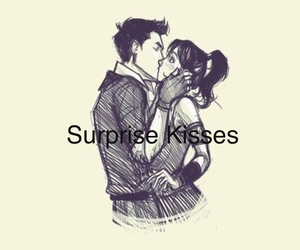 cute couple, drawing, and kiss image