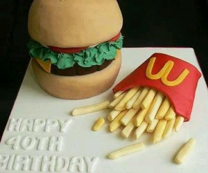 cake, burger, and fries image
