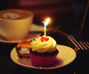 birthday, candle, and coffe image