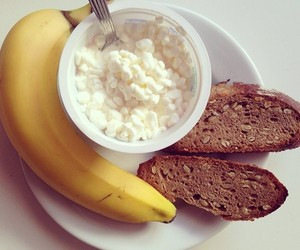 banana, breakfast, and cottage cheese image