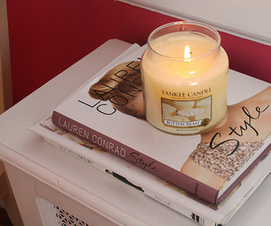 candle, lauren conrad, and book image