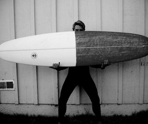 black and white, photography, and surf board image