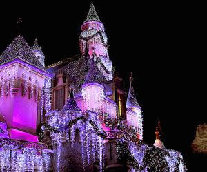 castle, light, and disney image