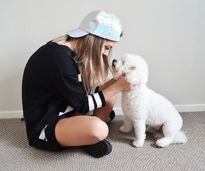 cap, girl, and dog image