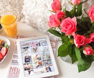 flowers, breakfast, and girly image