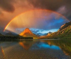 montana, mountain, and rainbow image