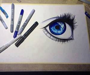 blue, eye, and drawing image