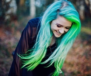 colorful hair, girl, and grunge image